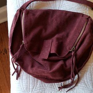 Beautiful wine colored suede slouchy handbag